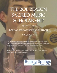 The Bob Beason Sacred Music Scholarship poster for BSBC 2016(1) (2)
